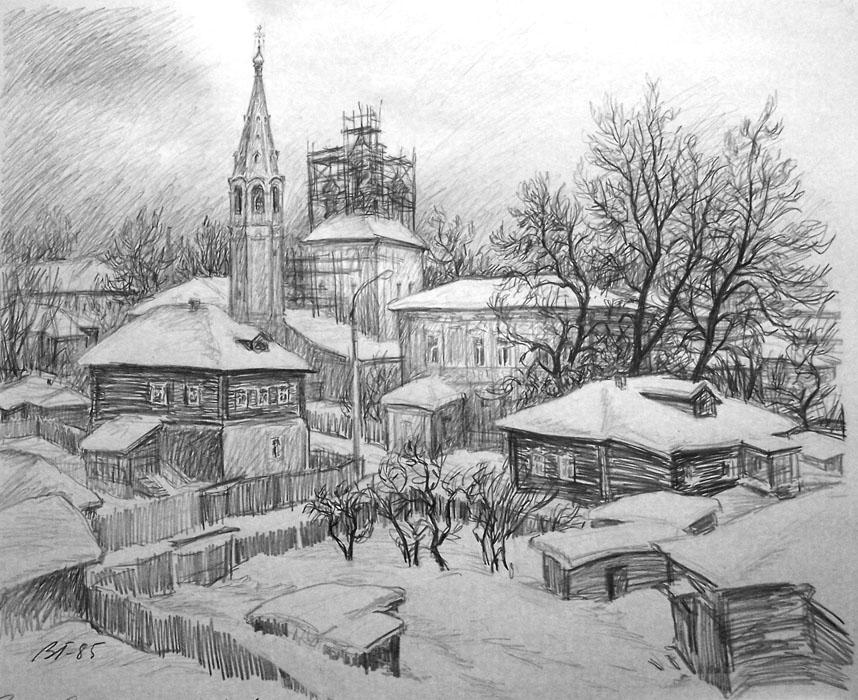 Vitaliy Gubarev: 'Winter. Serpuhov'. Pencil drawing. 1985